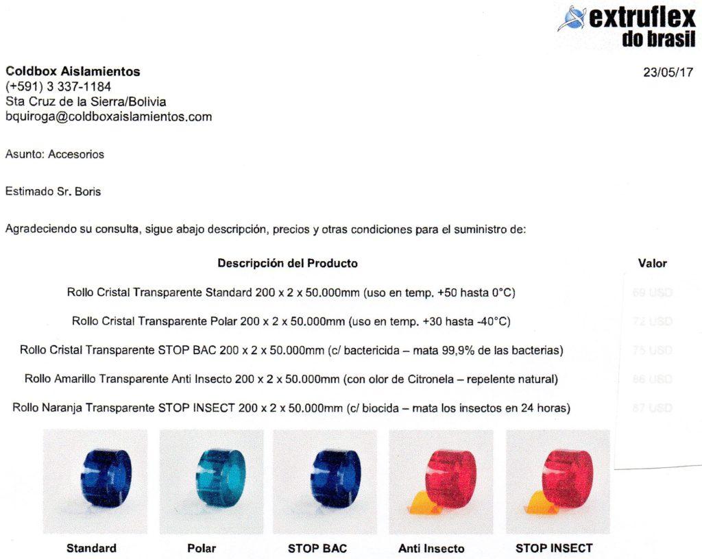 Electrofrío - Detalle de láminas Extruflex